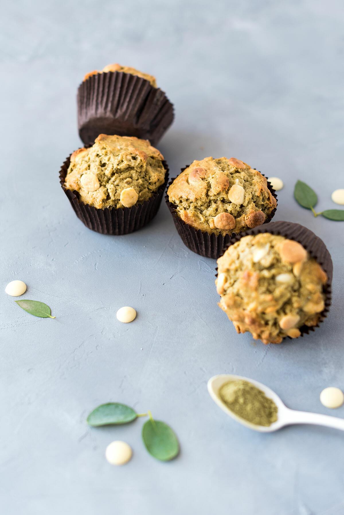 Muffins Matcha Avoine Chocolat Blanc | Lilie Bakery