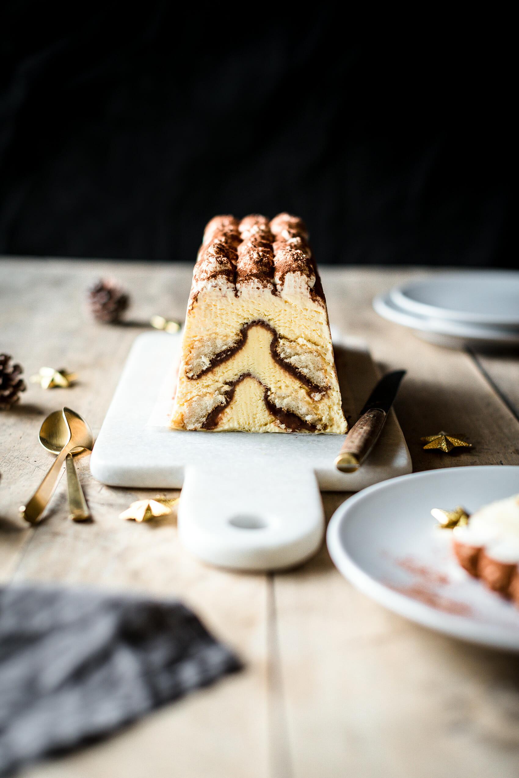 Buche glacée façon tiramisu chocolat crème de marrons - Lilie Bakery