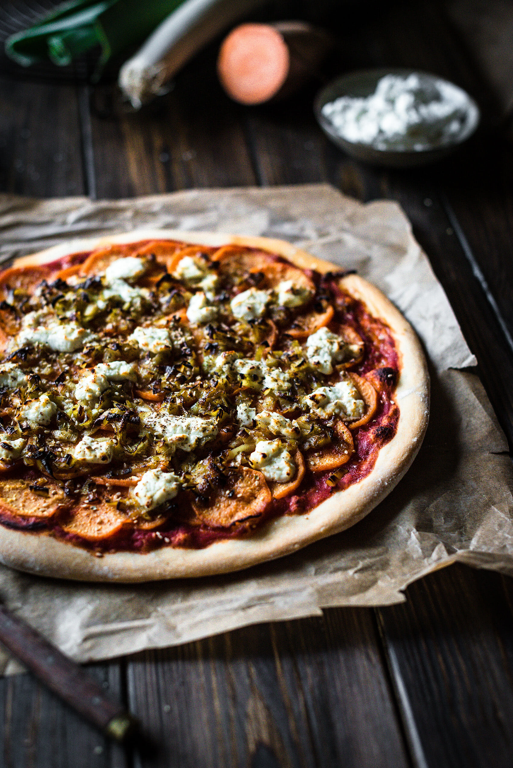 Pizza patate douce poireaux chèvre frais - Lilie Bakery