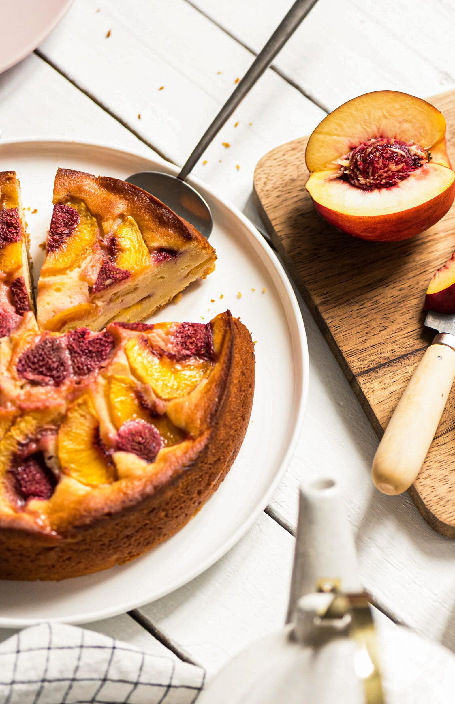 Gâteau à la pêche ricotta - Lilie Bakery