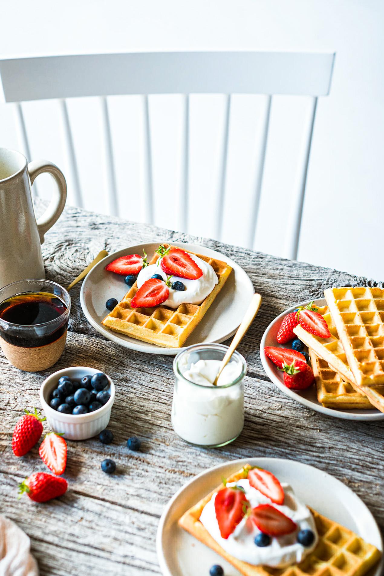 Gaufres bruxelles légères recette petit déjeuner - Lilie Bakery