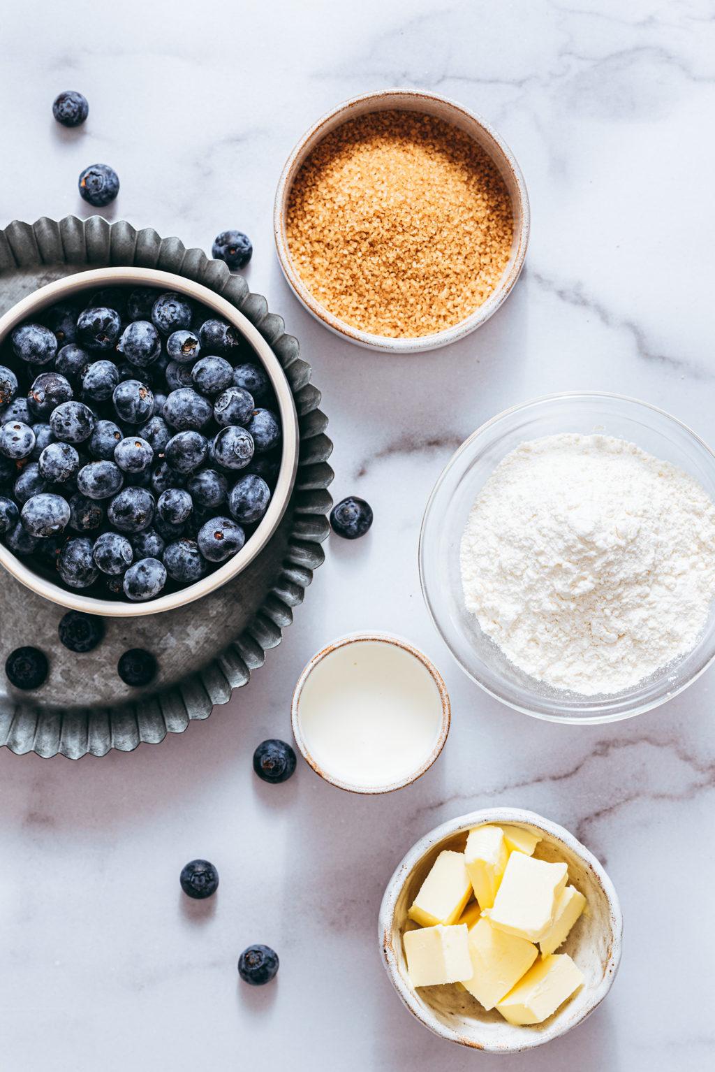 Ingrédients muffins myrtille - Lilie Bakery