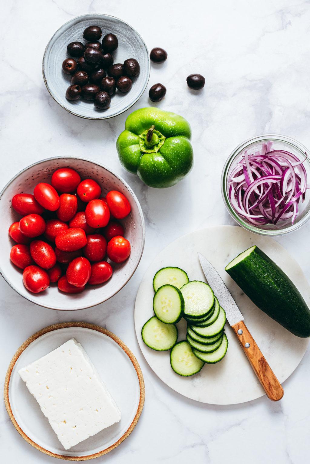 Salade grecque ingrédients - Lilie Bakery